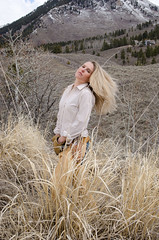 Yellow grass. (nevadoyerupaja) Tags: portrait usa girl outside outdoors model western wyoming cowgirl chaps halinaboyd