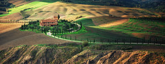 Agriturismo (Philipp Klinger Photography) Tags: road trip italien light shadow vacation italy panorama house mountain holiday color colour nature colors field landscape nikon colorful warm europe italia colours shadows earth path pano hill warmth dramatic vivid hills erosion soil clay tuscany crete cypress siena colourful agriculture toscana drama philipp patches cypresses luce rolling rollinghills d800 toskana cretesenesi agriturismo asciano klinger cipressi dramaticlight agritourism zypressen patchesoflight senesi nikond800