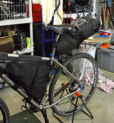 Fargo Bikepacking prep (Doug in Idaho) Tags: trip camping bicycle spring tour seat pack april handlebar bags luxy salsa titanium ti fargo saddle brooks bedrock ragley 2013 revelate drg53113pbikeprep