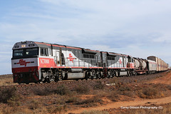 SCT008 & SCT005 west of Port Augusta (Australian Trains) Tags: railroad station train t photography track power pacific diesel photos steel south transport australian tracks engine rail railway loco australia trains victoria class corey national transportation nsw vic locomotive sa standard gibson railways gauge freight locomotives railroads qrn railpage