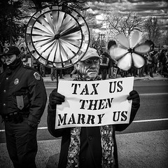 """Tax Us Then Marry Us"", Rally For Gay Marriage, U.S. Capitol/Supreme Court, Washington, DC (Gerald L. Campbell) Tags: street urban bw love washingtondc blackwhite justice dc politics protest streetphotography marriage uscapitol dcist gaymarriage supremecourt urbanphotography documentaryphotography canonsx50hs"