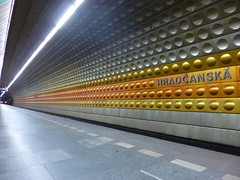 Prague metro station: Hradansk (ajburgess) Tags: station design republic czech prague metro platform praha hradansk