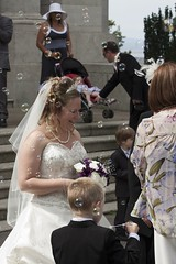 Happy Bride (bryanpage) Tags: flowers wedding tiara children bride necklace harrison veil dress steps bubbles pearls bouquet weddingdress buggy pageboy harrisonhendrixpage harrisonpage williamsonpark ashtonmemorial annaperry kelvinperry michellepage