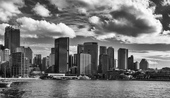 Skyline (Wayne818) Tags: ocean city bw water clouds harbour sydney