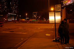 Fatal pedestrian crash location (Steven Vance) Tags: chicago highway mourning stopsign intersection westloop randolphstreet offramp kennedyexpressway lumixg20f17 fatalitytracker