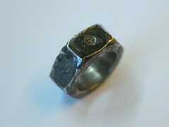 Nut Ring With Champagne Diamond - 1 (the justified sinner) Tags: rust iron steel champagne jewelry ring diamond panasonic jewellery 20mm nut foundobject corrosion corroded f17 gh2 justifiedsinner