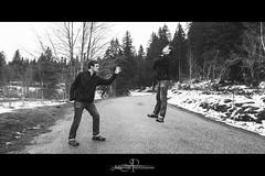 Projet 52 : #17 (Julien Perri Photographie) Tags: road white snow black tree men nikon noir levitation wb nb route arbres neige clone blanc homme hadouken 2470 lévitation d3s
