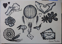 Long distance love flash sheet (LAURA MARDON) Tags: blackandwhite rose tattoo flash envelope hotairballoon lovebirds dreamcatcher copic faraway longdistance copics lovedones tattooflash copicmarkers flashsheet handholdingenvelope heartinthepost