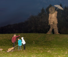 Children prepare to set alight the 9m high Wicker man at the 2013 Butser Farm Beltain festival (Anguskirk) Tags: uk england may hampshire beltane beltain celticfestival wickerman chalton butserhill 2013 butserancientfarm ancientceremony