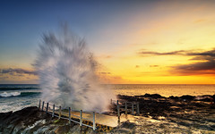 Boom! (eggysayoga) Tags: sunset sea seascape water night landscape nikon wave blow tokina filter lee nd splash graduated waterscape 1116mm d7000 pwpartlycloudy