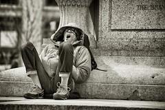 stealing a zzzz (bytegirl24) Tags: newyorkcity bw man nap sleep manhattan yawn napping unionsquarepark