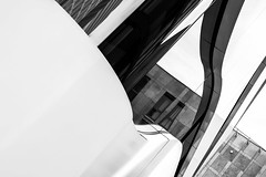 Organic building (Bj!xelGeist) Tags: white abstract reflection building berlin window glass wall architecture modern deutschland lights design shadows bright organic crooked