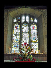 Pentecost (littlestschnauzer) Tags: flowers red flower church window glass st parish festival century rural 1 community nikon worship village interior may grade christian stained altar celebration historical 14th michaels buidling listed cofe pentecost emley 2013 d5000 elementsorganizer11