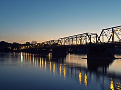 New Hope-Lambertville Bridge (jbarral) Tags: new sunset reflections river landscape hope long exposure fuji pennsylvania jersey fujifilm lambertville x10