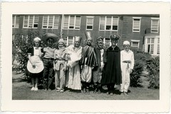 Schoolchildren in Costumes, 1940 (Alan Mays) Tags: old costumes windows girls cute boys students portraits vintage buildings children clothing education funny humorous photos pennsylvania humor 1940 ephemera clothes queens pa capes 1940s kings photographs snapshots uniforms waitresses schoolchildren amusing schools hayes newhope buckscounty maids foundphotos crowns june26 stanu vptp stanuprints hayesphoto hayesphotoservice