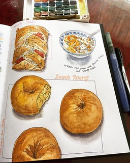 Sunday food journals. 😋 🎨📒   Raspberry strudel, three plain donuts, and yogurt with granola and orange.   Have a great week ahead everyone!   #caobeckysketch