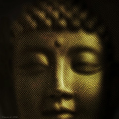 The enigmatic smile (Lemon~art) Tags: buddha face gold goldleaf serenity texture manipulation peace calm