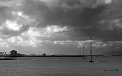Cruzando al Mar Menor (Fotgrafo-robby25) Tags: byn fujifilmxt1 marmenor nubes ruinas tendidoselctricos