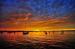 Newport Sunset (ecmguy77) Tags: sunset colors saturation boats water fire ocean newport rhodeisland sailboat newportbridge clouds atlantic eastcoast newengland ecmguy robertwork