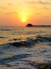 Adios El Sol (moonjazz) Tags: sunset california twilight waves oceanside pacificocean goodbye farwell adios sun orange sky coast west pier hour time photography last sinking silhouette moonjazz brilliant favorite memories cherish meditation nature soft light