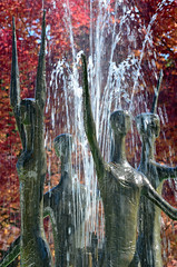 Celebrate Fall (James_D_Images) Tags: sculpture fountain water transcendence fall autumn red leaves