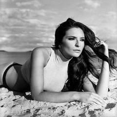 The girl on the Beach (Tim Lingley) Tags: film fashion model test shoot beach sand surf sky wind hasselblad 503cx analog kodak trix blackandwhite