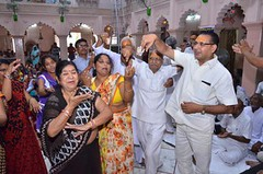 "MATHURA: Devotees celebrating ""Radhaashtami"" Festival (Birthday of Goddess Radha) at old Keshev Dev temple in Mathura on Friday. (legend_news) Tags: mathura up india devotees celebrating radhaashtami festival birthday goddess radha old keshev dev temple friday"