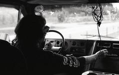 Finkmobile II (Magnus Bergstrm) Tags: canonae1 canon ae1 analog bw blackwhite blackandwhite kodak kodaktmax100 kodaktmax tmy 100tmx sweden sverige vrmland karlstad van punk tattoo driver cables stereo road trip roadtrip