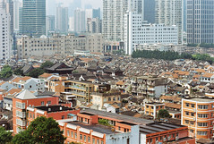 Southwest corner of the old town (avezink) Tags: confuciustemple henannanlu penglailu sw vista oldtown shanghai china    historic heritage viewfromabove birdseye roofs film analog canoneos30