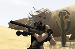 annie the sniper (prettynontan) Tags: catwa desert sniper m24 maitreya war cats fawny secondlife weapon female lady kneeling