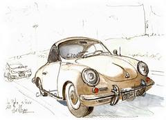 Le Pyla, l'auto (Croctoo) Tags: croctoo croctoofr croquis aquarelle watercolor auto autoancienne porsche porsche356