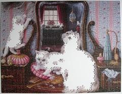 Purr-fect Reflection (Janet Kruskamp) - es geht weiter (Leonisha) Tags: puzzle jigsawpuzzle unfinished