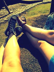 (mary01985) Tags: dresses friend beers canal white black laces chucktaylors hightops converse pumps legs
