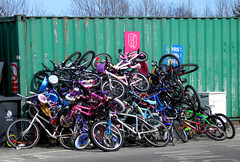 Bicycle Pile-Up (Ermintrude73) Tags: charity bike bicycle recycling scapyard percymain