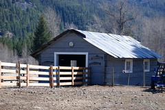THIS IS THE BARN WHERE THE SHEEP ARE SHEARED FOR THEIR WOOL, (vermillion$baby) Tags: barn bc building farm fence shed tulameen easter tulamen old architecture agricultural ranch agriculture larrykohler kohlerranch