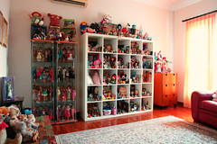 the special room today (girl enchanted) Tags: white ikea vintage toy toys junk dolls toystory bears books bookshelf disney shelf collection kenner barbies collectible cabbagepatchkids takara mattel clutter steiff cpk toyroom expedit blythes 80stoys dollroom disneyana silkstone kennerblythedoll