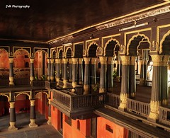 Tippu Sultan Palace 18th Century Marvel (Joevimalraj) Tags: wood shadow red architecture century reflections lights design wooden paint king balcony great bangalore joe 18th palace photowalk sultan tippu bengaluru tippusultan 18century jvr