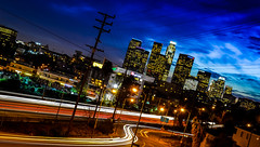 Los Angeles Skyline (Javier Clift?) Tags: longexposure skyline la losangeles freeway cityofangels cityofla laskyline thisisla