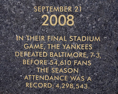 7/21/2008 YANKEES FINAL STADIUM GAME Old Yankee Stadium Historical Plaque, Ruppert Plaza, Bronx, New York City (jag9889) Tags: park city nyc ny newyork century plaque baseball stadium bronx baltimore granite record marker historical attendance yankee yankees legend braves nycparks heritagefield finalgame 2013 macombsdampark oldyankeestadium 9212008 jag9889 ruppertplaza