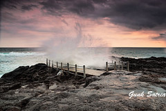 Splash In Seseh Beach (Gunk Satria) Tags: sunset beach nikon splash seseh