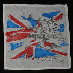 Anarchy in the U.K. handkerchief (Chelsea 101) Tags: 1977 unionjack sexpistols safetypin sidvicious anarchyintheuk malcolmmclaren viviennewestwood thebaltic seditionaries stevejones paulcook letitrock johnrotten 430kingsroad shallowexhibition