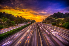 Drama Over the 101 Freeway! ( In 2 Making Images | L.A.) Tags: california road light sunset sky usa cloud sunlight motion horizontal speed outdoors photography traffic hill nopeople universalcity transportation dramaticsky hdr onthemove hollywoodcalifornia roadmarking blurredmotion 101freeway colorimage landvehicle thewayforward multiplelanehighway canoneosdigitalslr fineartamerica rebelt2i albertvalles