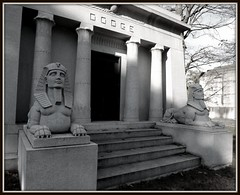 Wide Angle View of Dodge Mausoleum: Woodlawn Cemetery--Detroit MI (pinehurst19475) Tags: city two urban cemetery sphinx michigan detroit columns wideangle mausoleum dos deux column woodlawn dodgebrothers sphinxes woodlawncemetery michigancemetery detroitcemetery dodgebrothersmausoleum cemeteryarchitecture