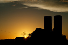 The Lewes Barn - Explored (4/19/13) (57rroberts) Tags: silhouette barn sunrise de outdoors outdoor silo silos delaware lewes lewesde