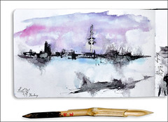 Hamburg an der Alster (rafaelmucha) Tags: city moleskine ink notebook sketch hamburg sketching sketchbook bamboo fernsehturm alster skizzenbuch tusche bambusfeder