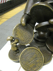 The 99 Percent (edenpictures) Tags: nyc newyorkcity sculpture money art station statue bronze subway coins manhattan poor cash stop cents mta 14thstreet pennies tomotterness workingclass