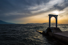 Sunset in Kusadasi (Gigin - NoDigital) Tags: sea nature water stairs buildings turkey arch general parts places geography locations kusadasi soucak aydnprovince