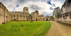 Cloister Court of Fountains Abbey (North Yorkshire, United Kingdom) [Explored 2013-04-25] (Michael Mehl) Tags: world greatbritain england panorama green heritage abbey grass court geotagged stitch unitedkingdom britain stones yorkshire united great innenhof north ruin kingdom unesco ruine steine monastery national blended trust gras walls cloister grn nationaltrust cistercian northyorkshire hof kloster worldheritage blend gbr klosterhof dissolution wnde stichted abtei zisterzienser studleyroger grosbritannien aldfield lindrickwithstudleyroyalandfountains lindrickwithstudleyroyaland geo:lat=5410987900 geo:lon=158166800