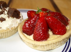 Strawberry and chocolate cream tarts - 11 (Tony Worrall Foto) Tags: uk england food english cakes fruit nice berry berries photos sweet cream tasty eaten images sugar eat foodporn pastry snacks taste sugary bake tarts bought baked creamy piled stawberries tonysphotos creamtarts 2013tonyworrall