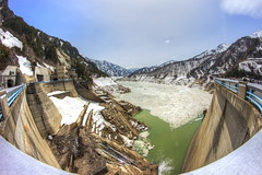 Nature vs man-made (astrowym) Tags: travel mountain snow alps tourism water japan canon river dam fisheye explore toyama kurobe 600d kurobedam